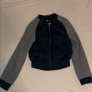 Navy blue and grey cropped jacket, size 2.
